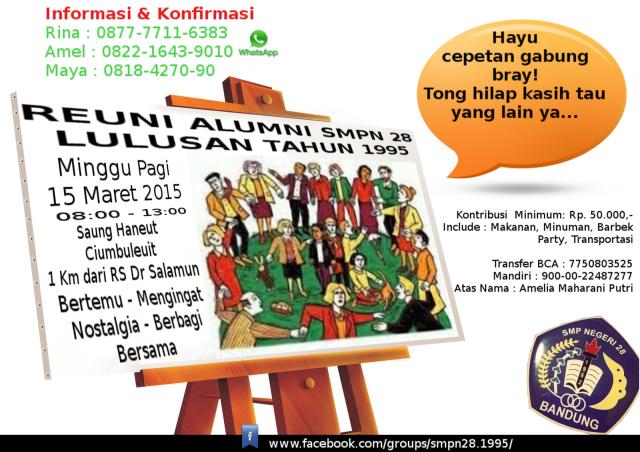 Undangan Reuni Alumni SMPN 28 Bandung Lulus Tahun 1995